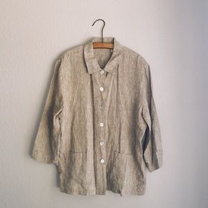 Taupe 100% Linen Woven Button Down Top w/ Pockets